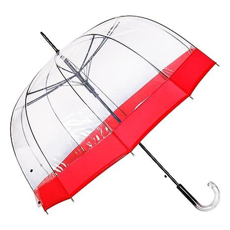 Paraguas Transparente Rojo de Mujer, con Forma de Cúpula y Función Antiviento. Paraguas Grande