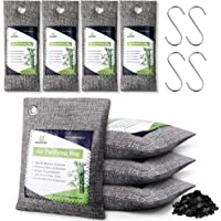 AGOESH Bamboo Charcoal Air Purifying Bag 8 Pack with 4 Hooks,Activated Charcoal Bags Odor Absorber,Chemical&Fragrance…