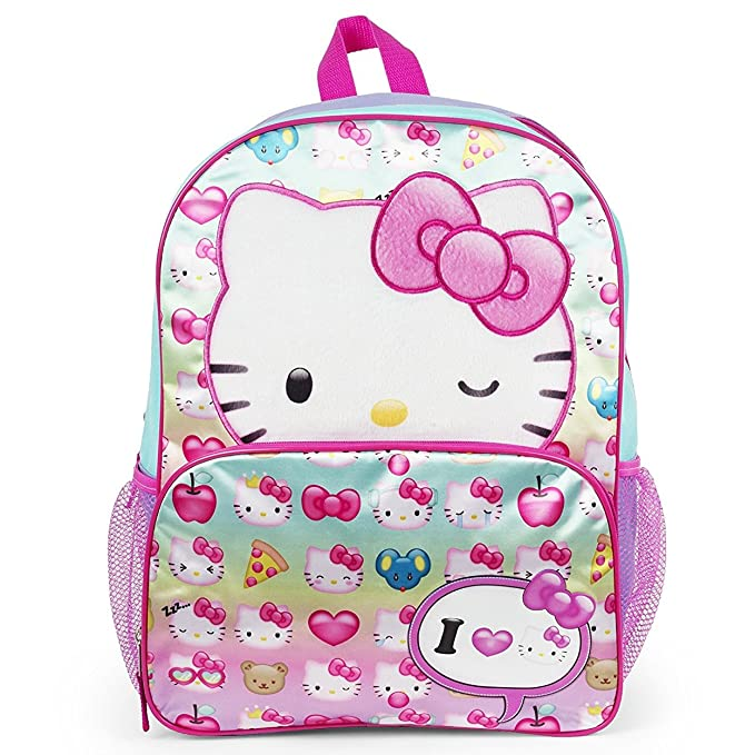 "4e554042d Image Unavailable. Image not available for. Color: Hello Kitty Emoji Plush  Feel Pink Wink 16"" Backpack School Bag"