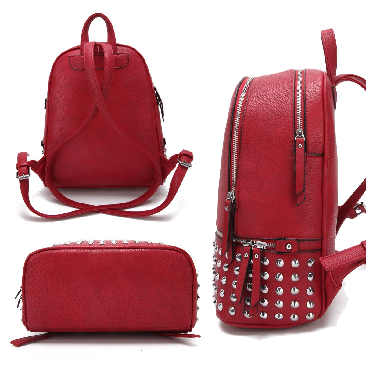 MMK collection Women Fashion Backpack with wallet (2443)~Designer Purse for Women ~Multi Pocket Backpack~ Beautiful Designer Handbag Set(2443/7025) (MA-XL-21-7580-RD 168 RD) by Marco M. Kerry (Image #3)