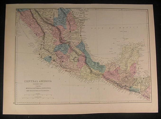 Map Of Central America Yucatan Peninsula.Amazon Com Central America Yucatan Honduras Mexico 1875 Antique