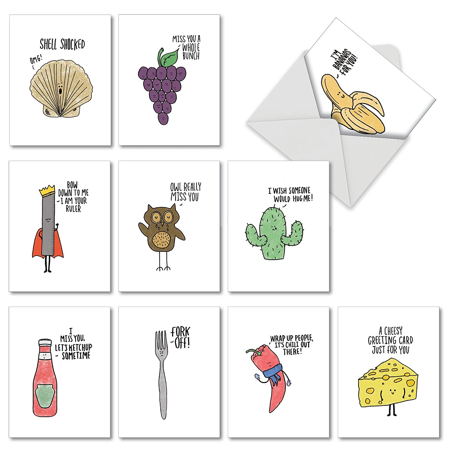 Fun Puns Blank Note Cards Box Of 10 Funny All Occasion Greeting Card With Envelope Cartoon Animated Stationery For Clever Birthday Business