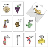 Fun Puns Blank Note Cards (Box of 10) Funny All Occasion Greeting Card with Envelope Cartoon Animated Stationery for Clever Birthday, Business, and Well Wishes Pun Notecards (4 inch x 5 inch) M2975OCB