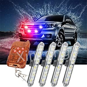 Clidr 24 LED 3 Flashing Modes Vehicle Windshield Dash Deck Grille Strobe Flash Emergency Warning Strobe Light Bar For Truck Law Enforcement Firefighter Ambulance (white blue)