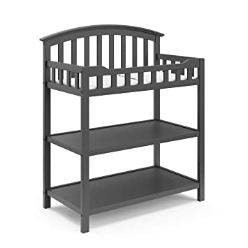 Black Graco Lauren Changing Table with Water-Resistant Change Pad and Safety Strap Multi Open Storage Nursery Changing Table for Infants or Babies