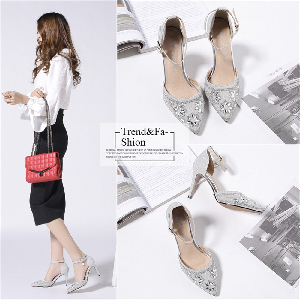AnMengXinLing Womens Rhinestone Pumps Ankle Strap DOrsay Shoes Silver Beaded Crystal Stiletto 3 1/2 inch Heel: Amazon.co.uk: Shoes & Bags
