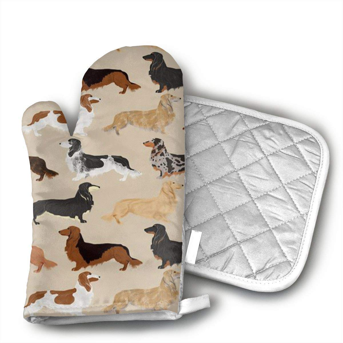 NoveltyGloves Long Haired Dachshunds Dogs Oven Mitts,Professional Heat Resistant Microwave BBQ Oven Insulation Thickening Cotton Gloves Baking Pot Mitts Soft Inner Lining Kitchen Cooking