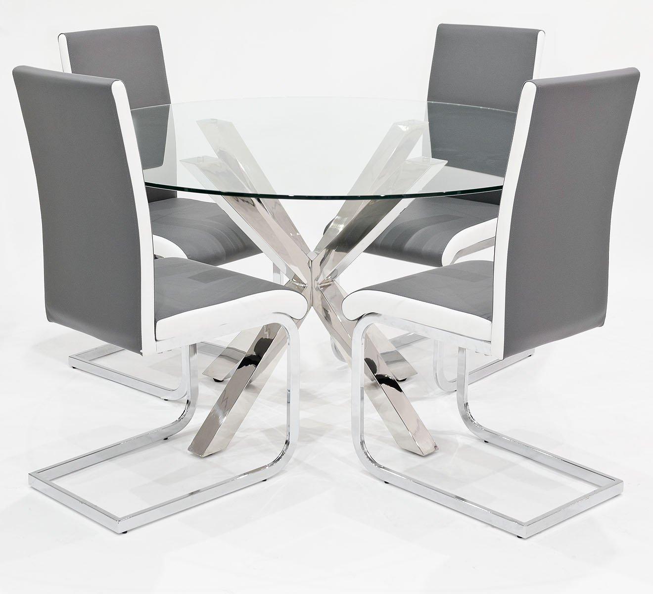 FEBLAND Crossly Rund Glas Tisch Mit 4 Grau Brescia Esszimmerstühle, Metall,  Chrom: