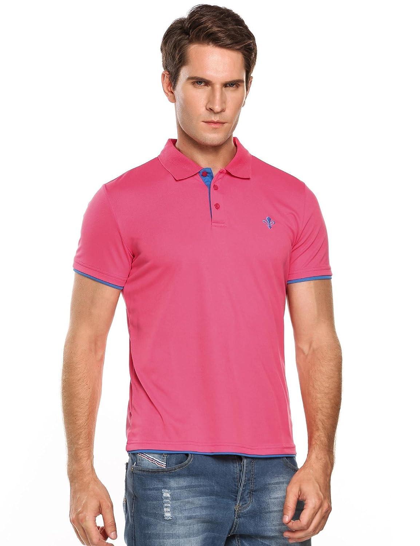 Jinidu Mens Business Polo Shirt Slim Fit Short Sleeve Classic T