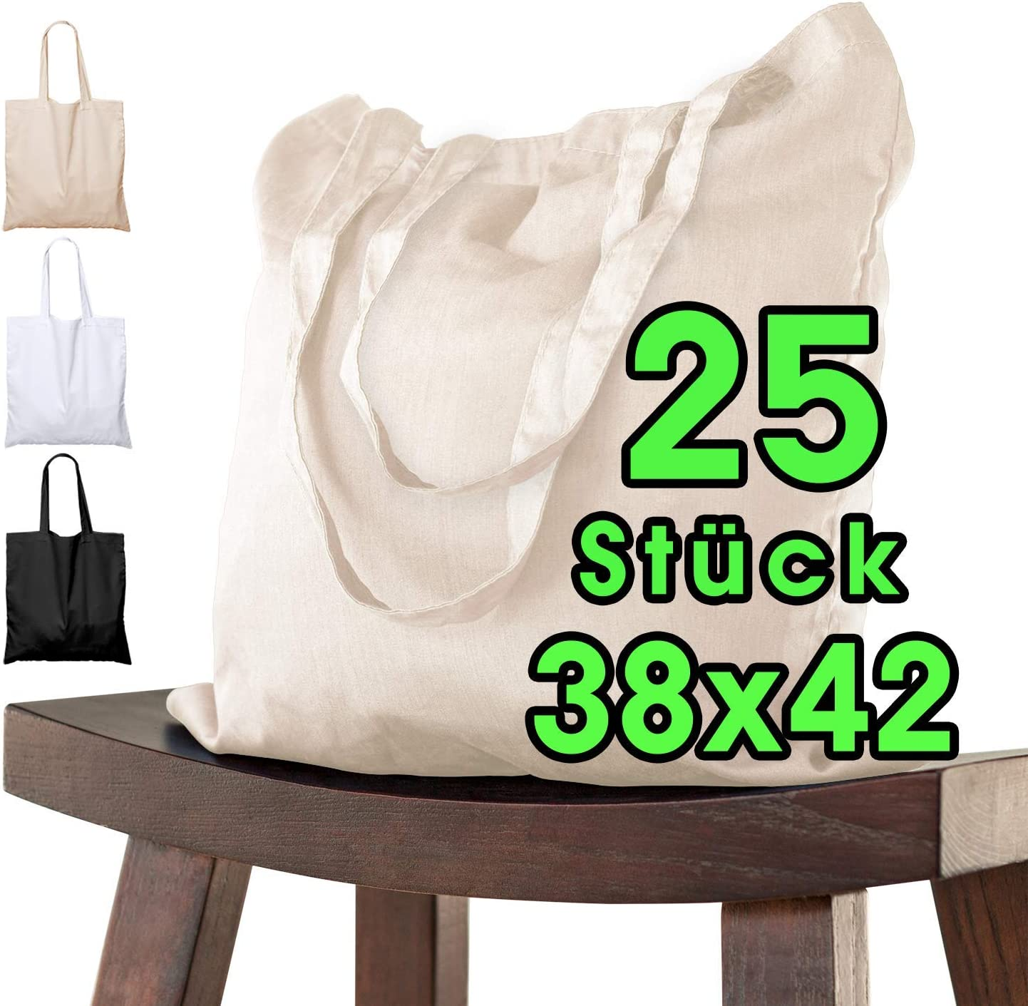 Bolsa de algodón, 38 x 42 cm, sin Estampar, Asas largas, Bolsa de Tela, Bolsa de algodón, Bolsa de Yute con Certificado Öko-Tex ®, 25 unidades (naturaleza): Amazon.es: Juguetes y juegos