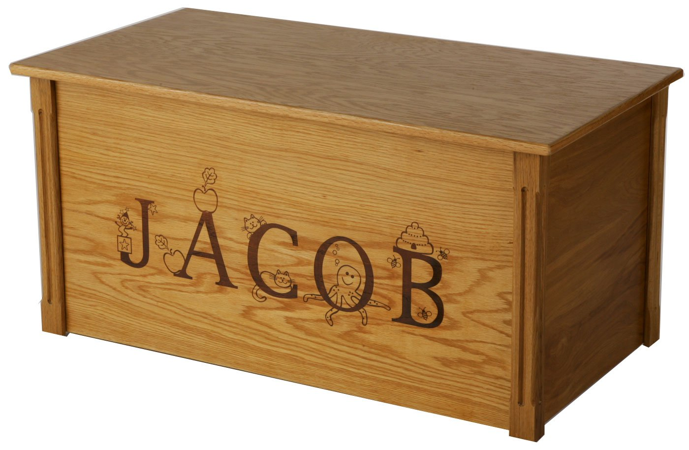 Wood Toy Box, Large Oak Toy Chest, Personalized Thematic Font, Custom Options (Standard Base) by Wood Toy Box