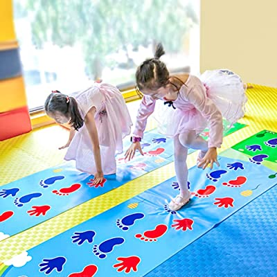 ROLENUNE Kid Hopscotch Play Mat Carpet Baby Sport Jumping Rug Lattice Kindergarten Team Game Pad Playroom Early Childhood Fun Toy Children Indoor Outdoor Toddlers Sports Toys Age for 4 5 6 Year Old: Toys & Games