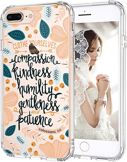 MOSNOVO Case for iPhone 8 Plus, Clothe Yourselves Floral Flower Quote Women Girls Clear Design Transparent Plastic Hard Back Case with TPU Bumper ...