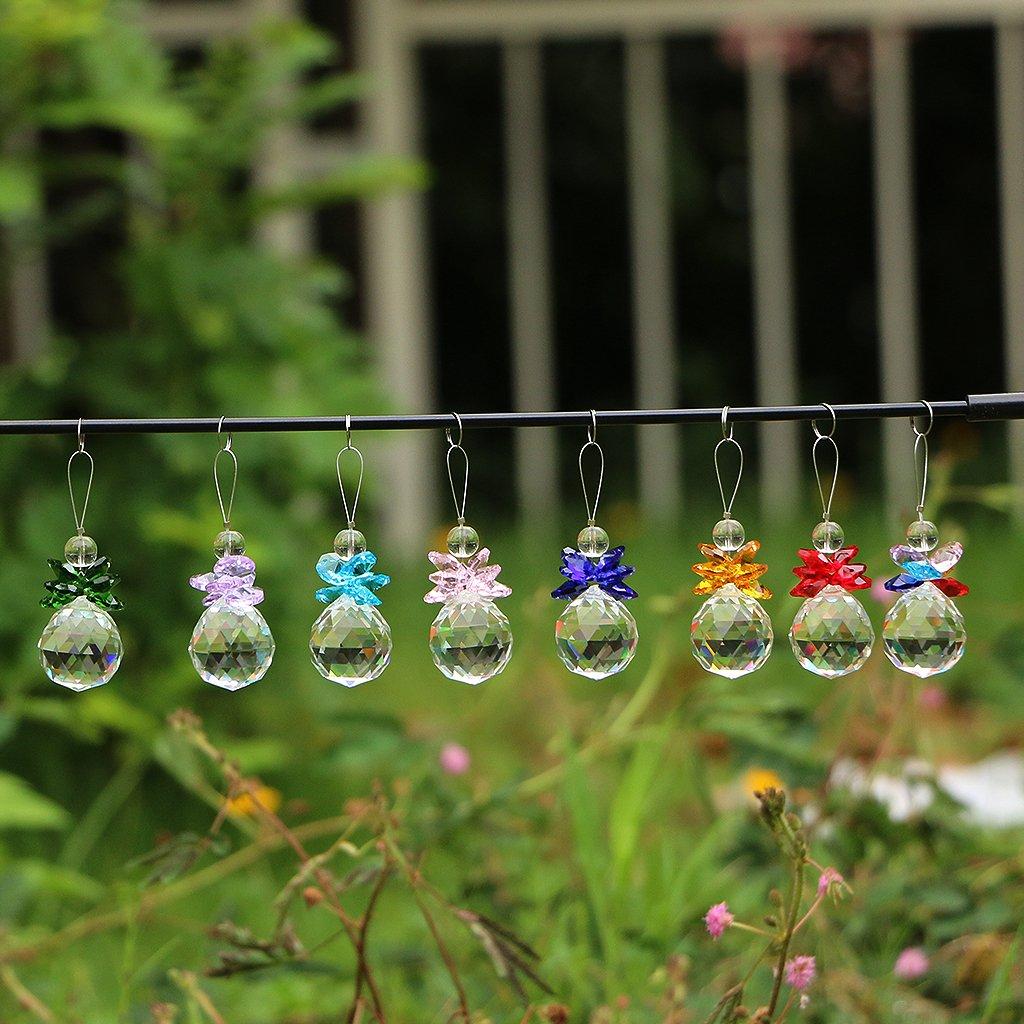 "Fvstar 8pcs Multi Color 1.2"" Clear Crystal Prism Suncatcher Ball Hanging Chandelier Pendants Glass Ornaments Rainbow Maker for Wedding Christmas Party Decor"