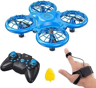 Opinión sobre Dragon Touch Mini Drone para Niños con LED Control Remoto Modo sin Cabeza Volteos 3D Estabilización de Altitud RC Quadcopter Drone para Niños Principiantes 2 Baterías DK01