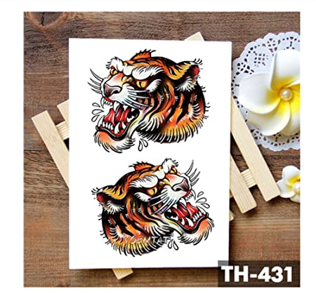 HYTGF Tatuaje Temporal Etiqueta engomada Circo Old School Tiger ...
