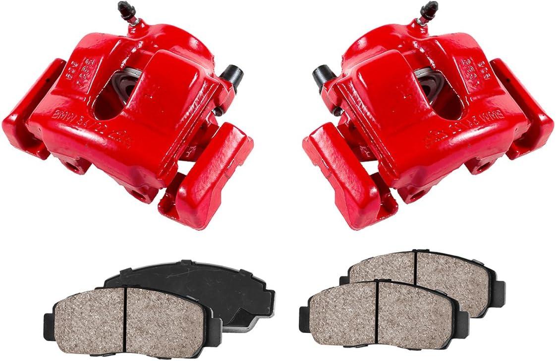 Ceramic Brake Pads Kit Performance Grade Semi-Loaded Powder Coated Red Caliper Callahan CCK12002 FRONT 4 REAR