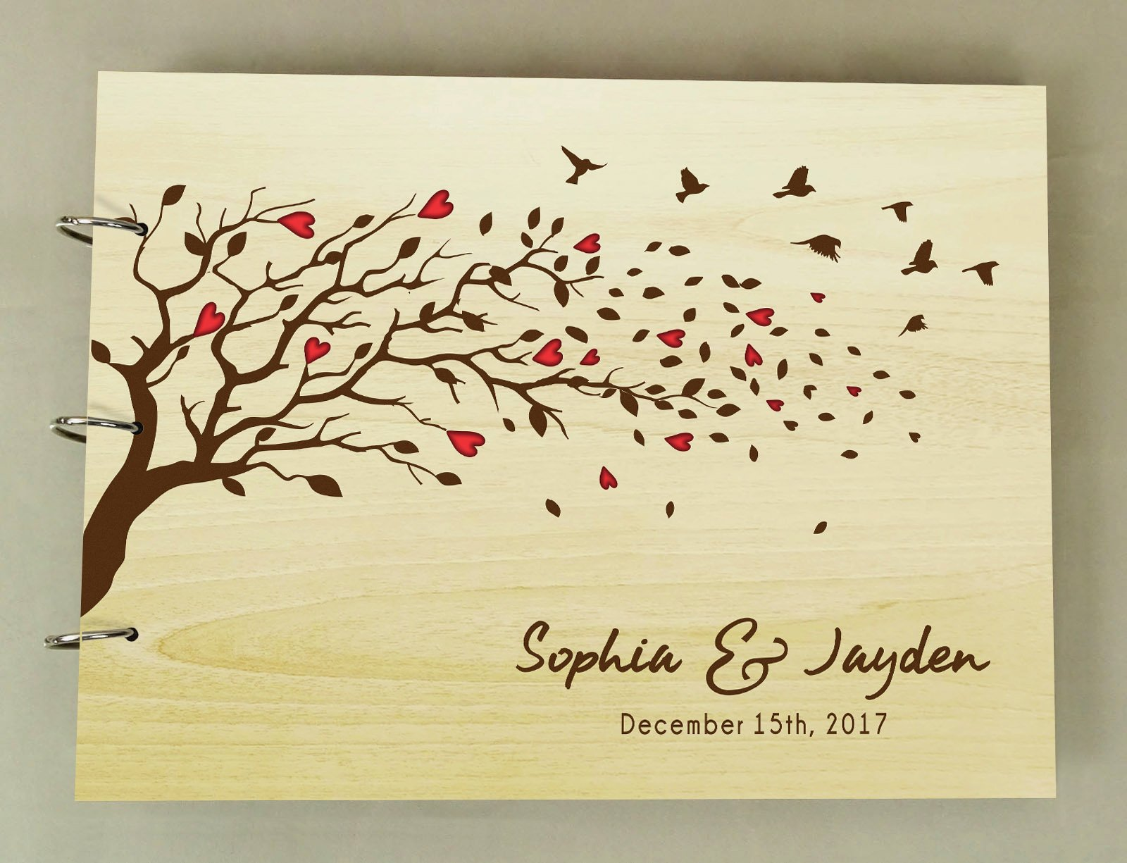 Unique Personalized Wood Engraved Heart Trees And Birds Wedding Guest Book Photo Albums Scrapbook
