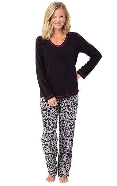 PajamaGram - Pijama Largo para Mujer - Forro Polar - Negro - XL