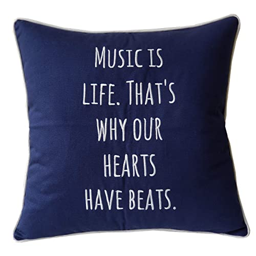 EURASIA DECOR DecorHouzz Music Lover Embroidered Pillow Cover Gift Teacher Guitar Player Piano Graduation