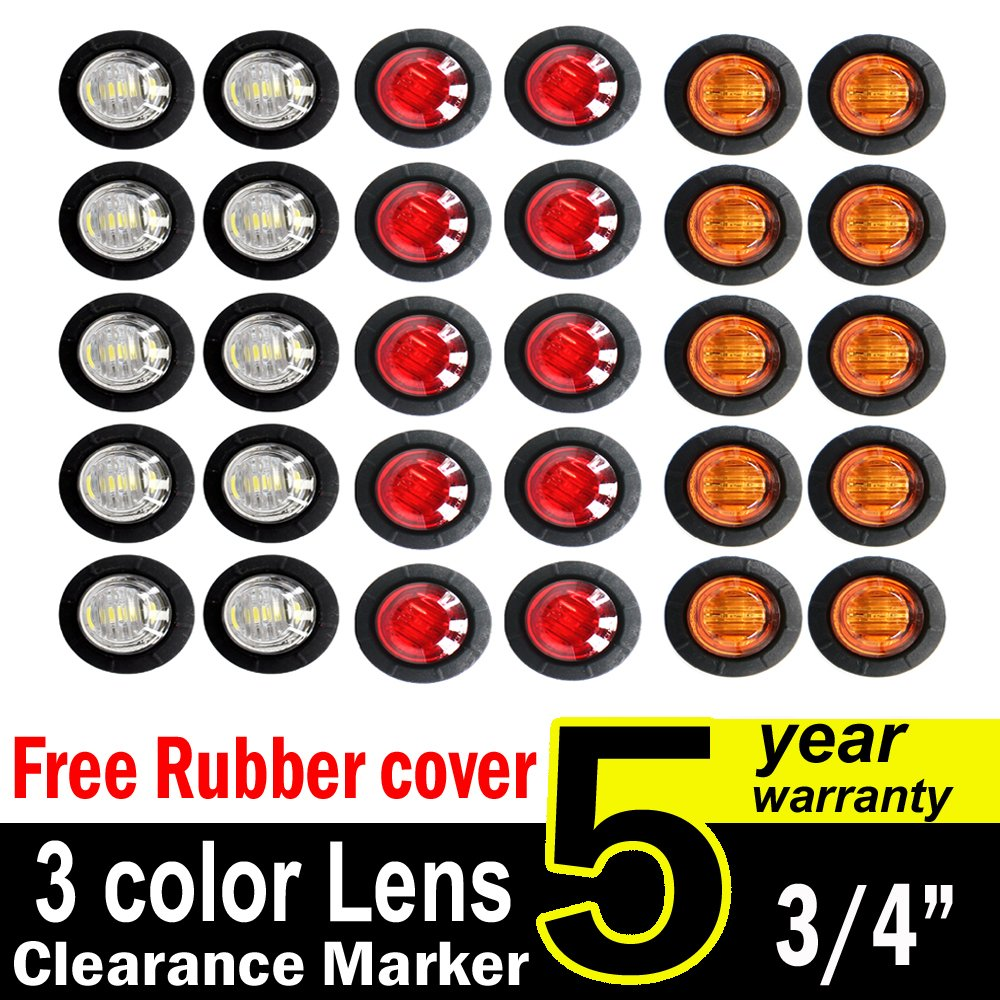 30 Pcs TMH 3/4'' Inch Surface Mount 10 pcs Amber + 10 pcs Red + 10 pcs White LED Clearance Markers Bullet Marker lights, side marker lights, led marker lights, led trailer marker lights