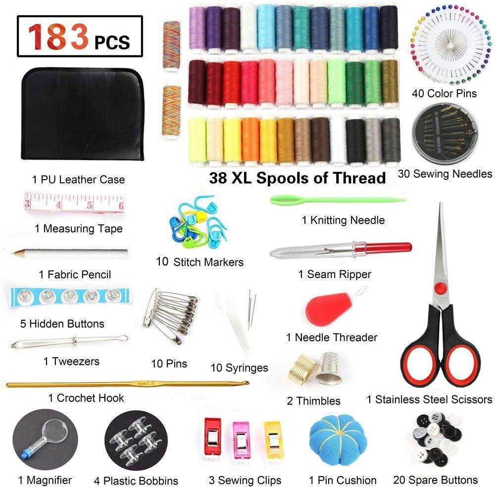 dedal agujas tijeras Kit de costura adultos principiantes y emergencias cinta m/étrica adecuada para el hogar viajes 183 accesorios de costura con 38 hilos XL ni/ños