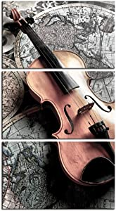 LevvArts 3 Piece Wall Art Elegant Violin on Vintage Map Picture Canvas Prints Music Poster for Living Room Classroom Woman Bedroom Wall Decor Framed Ready to Hang
