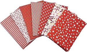 Quilting Fabric, Misscrafts 7pcs 50 x 50cm Cotton Blending Textile Craft Fabric Bundle Fat Quarter Patchwork Pre-Cut Quilt Squares for DIY Sewing Scrapbooking Dot Floral Pattern (Red)