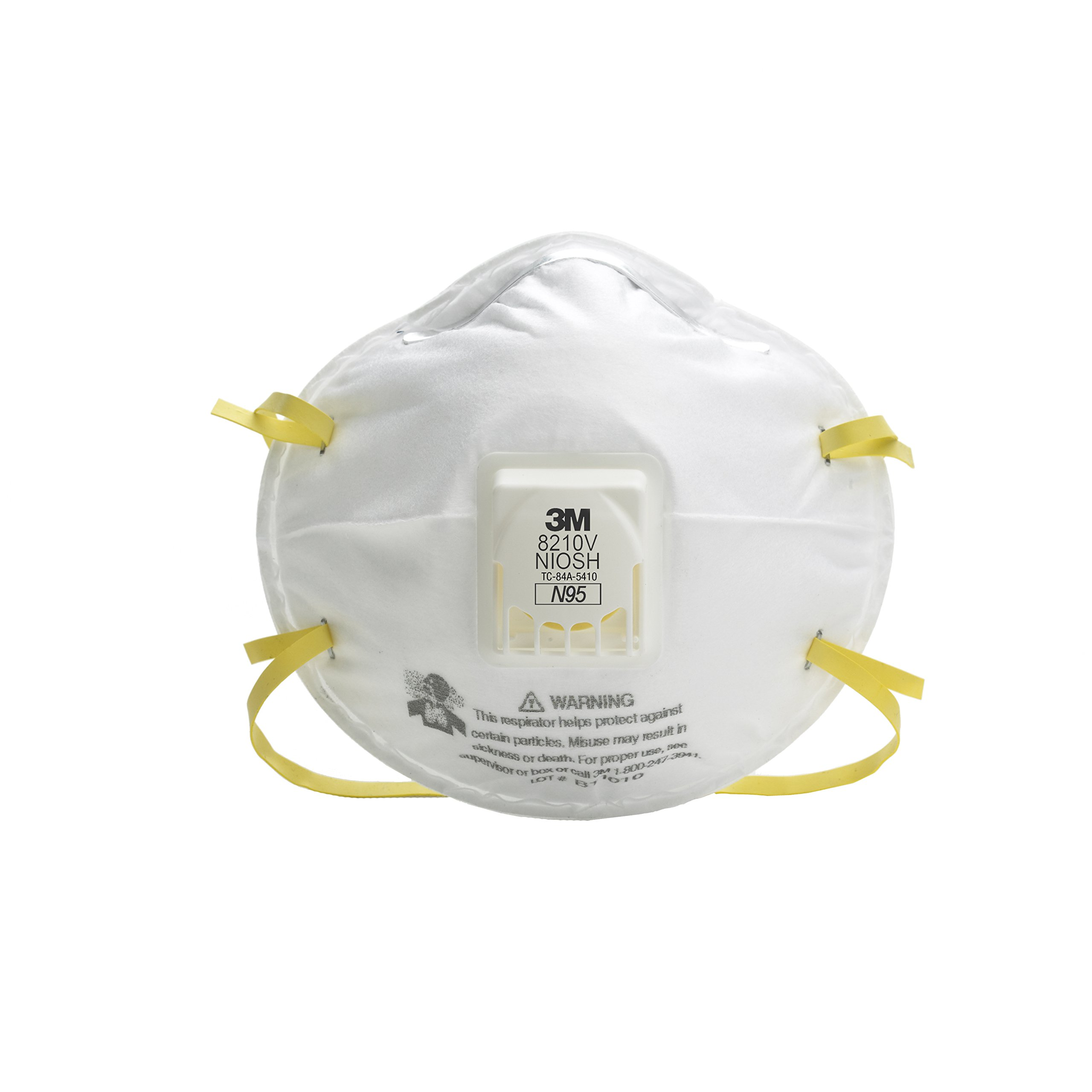 3M(TM) Particulate Respirator 8210V, N95 Respiratory Protection 10/Box