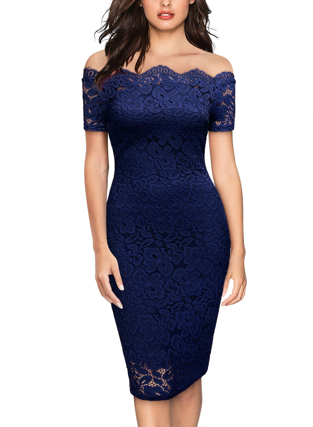 Miusol Women's Vintage Off Shoulder Flare Lace Slim Cocktail Pencil Dress (Medium, B-Dark Blue)