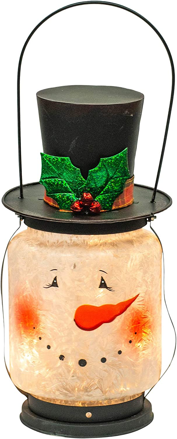 Transpac Imports, Inc. Light Up Snowman Head Crackle White 17 x 7 Glass Iron Christmas Holiday Figurine