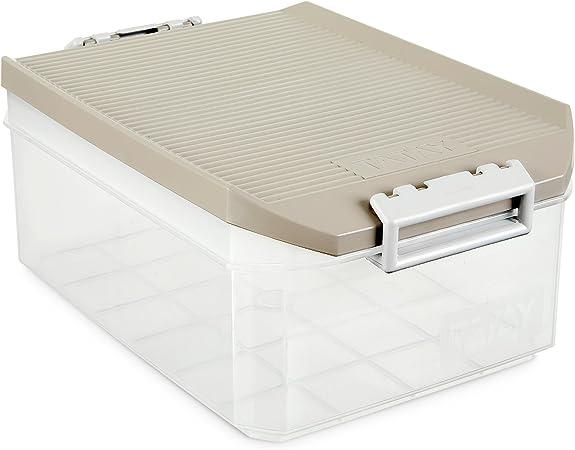 Tatay 1150223 - Caja de Almacenamiento Multiusos 4.5 l de Capacidad Transparente con Tapa, Plástico Polipropileno Libre de BPA, Gris, 19.2 x 29.7 x 12.4 cm: Amazon.es: Hogar