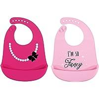 Hudson Babero de silicona para bebé, impermeable, fácil de limpiar, con bolsillo, 2 unidades