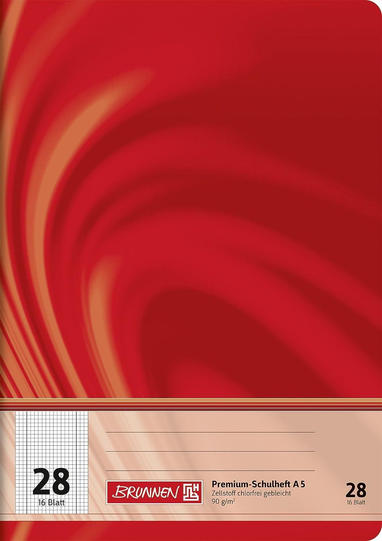 Brunnen 104572802 Schulheft A5 Vivendi (16 Blatt, 5 mm kariert, mit Rand, Lineatur 28)