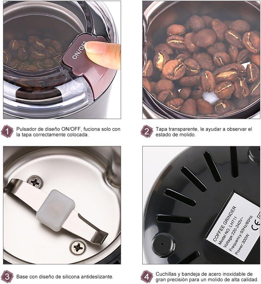 Potencia 150W frutos secos y especias el/éctrico Grunkel Capacidad 50g Cuchillas anti-desgaste de acero inoxidable, Molinillo de caf/é