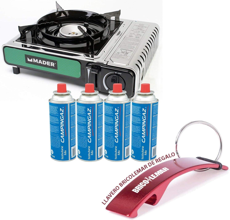 Hornillo portátil a gas 2,2kW Mader + 4 cartuchos de gas CP250 (MSF-1) 220g Campingaz y Llavero Bricolemar de Regalo