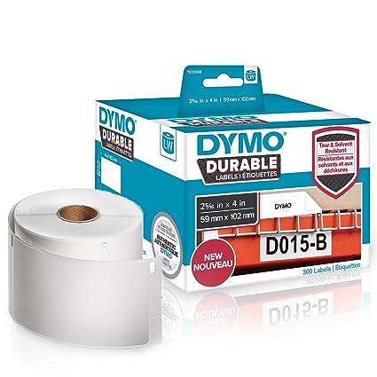 DYMO LW etiquetas industriales resistentes para LabelWriter impresoras de etiquetas, poli blanco, 59 mm x 102 mm, rollo de 300 (1933088)
