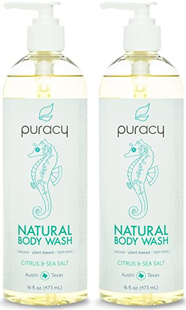 Puracy Natural Body Wash - Sulfate-Free - The BEST Shower Gel & Daily Cleanser - Citrus & Sea Salt - 16 ounce (Pack of 2)