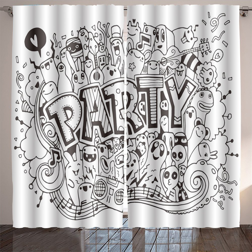 Philip C. Williams hand drawn doodle party set sketch icons for invitation flyer poster Room Bedroom Curtains 2 Panels for Kids Room Window Treatments 84x108 INCH