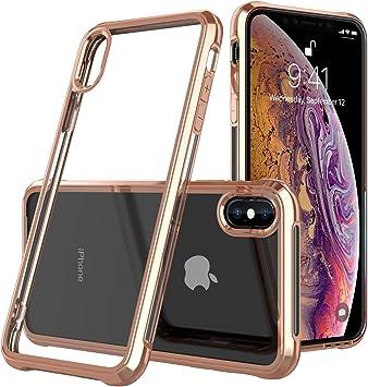 Coque iPhone Xs MaxEtui Transparent Gel Silicone TPU SoupleBumper Housse de Protection Rouge 1 pcs Verre Trempé