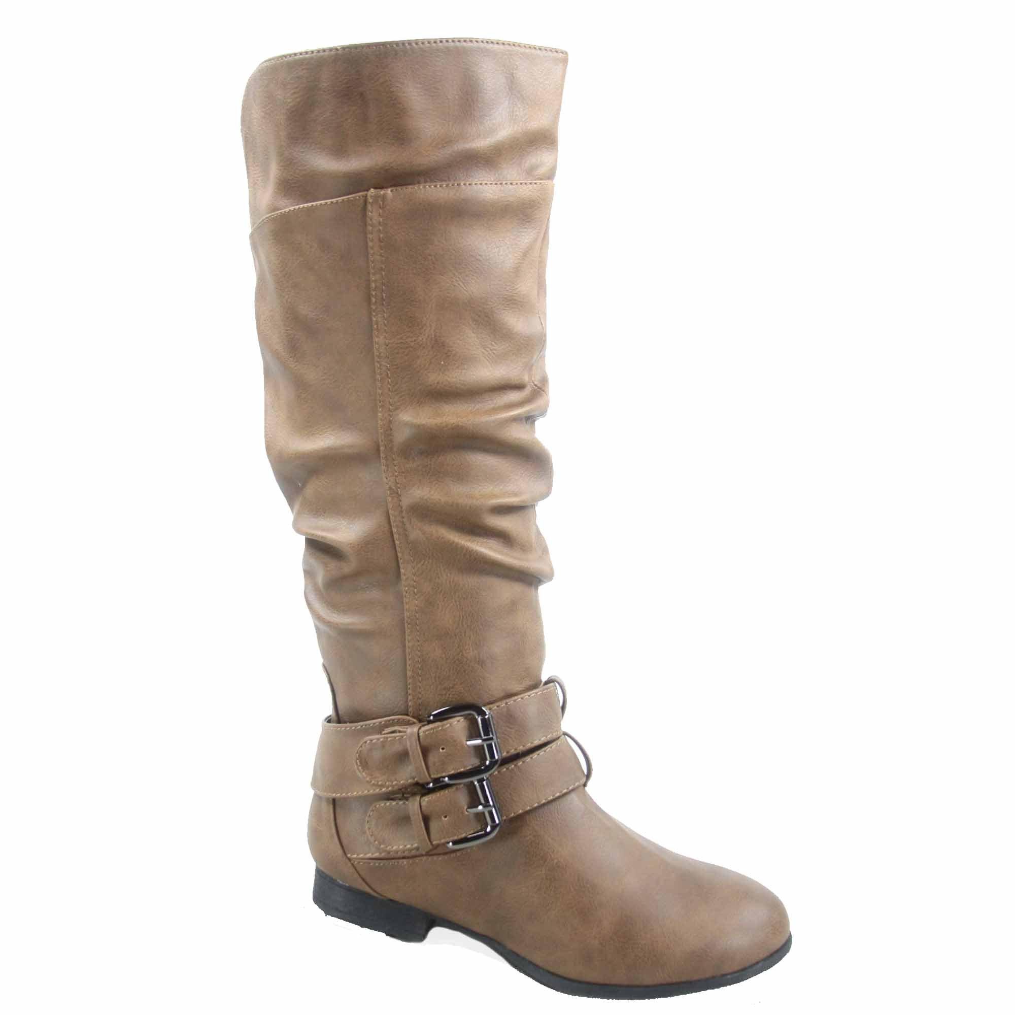 Top Moda Coco-20 Women's Fashion Round Toe Low Heel Knee High Zipper Riding Boot Shoes (6, Conac)