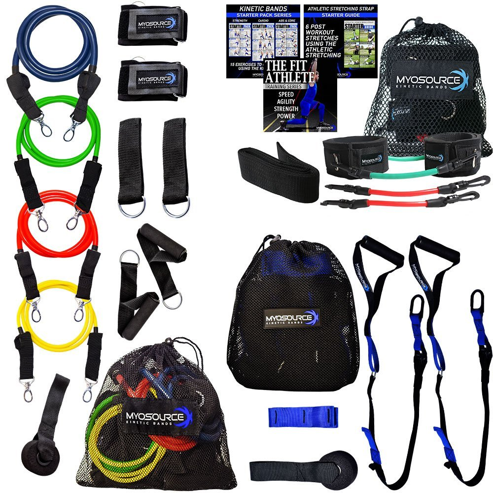 Kinetic Strength Resistance Workout Kit Combines Three Great Training Products to Give You a Full Body Workout At Home - Includes Lower Body Kinetic Bands, KB Upper Body Workout Bands, and Kinetic Suspension Straps
