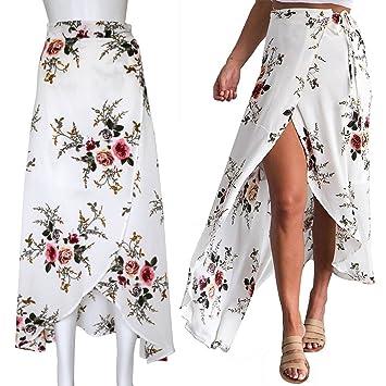 4a7f5ba977 Sunroyal Mujeres Flor Impresión Asimétrico Vestido largo Bohemio Estilo  Plisado Maxi Boho Falda Verano Split lateral