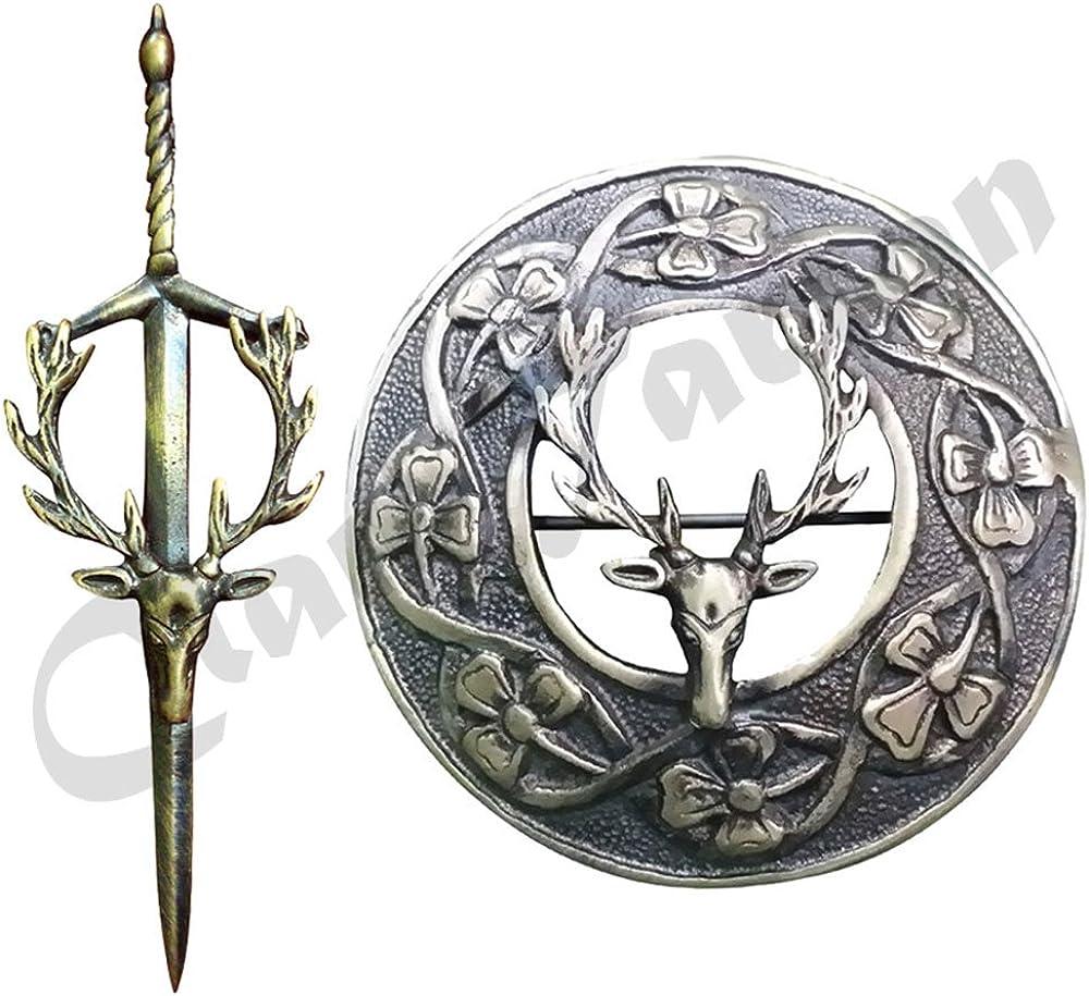 New Scottish Highland Kilt Pin//Stag Head Kilt Pin//Brooch Kilt Pin