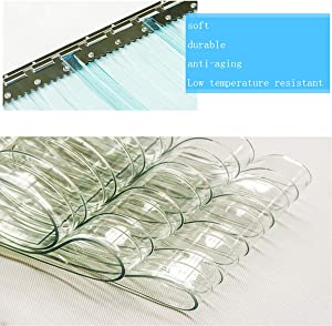 Ainy Thickness 2.1Mm (0.08In) PVC Strip Curtain Standard Clear Strip Transparent Plastic Freezer Room Hanging Rail Curtains Heat Cold Resist Windproof Common Door Kit (Hardware Included),0.752m~5PC