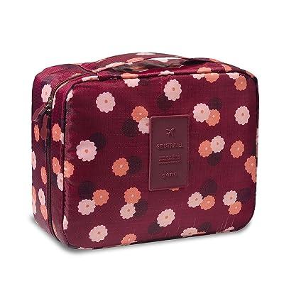 on sale Makeup Pouch,POTO Cosmetic Bag Makeup Storage Bag Women Girl Ladies Portable Toiletry Wash Bag Cute colorful Print Travel Storage Bag Makeup Case Oxford Waterproof Makeup Bag Tote with Zipper (B)