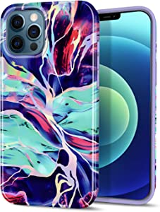 "CAOUME Compatible with iPhone 12 Pro Max Case Purple Marble Design Sparkly Glitter Protective Stylish Slim Thin Cute Holographic Cases for Apple Phone 6.7"" 2020 Release, Soft TPU Silicone Bumper"