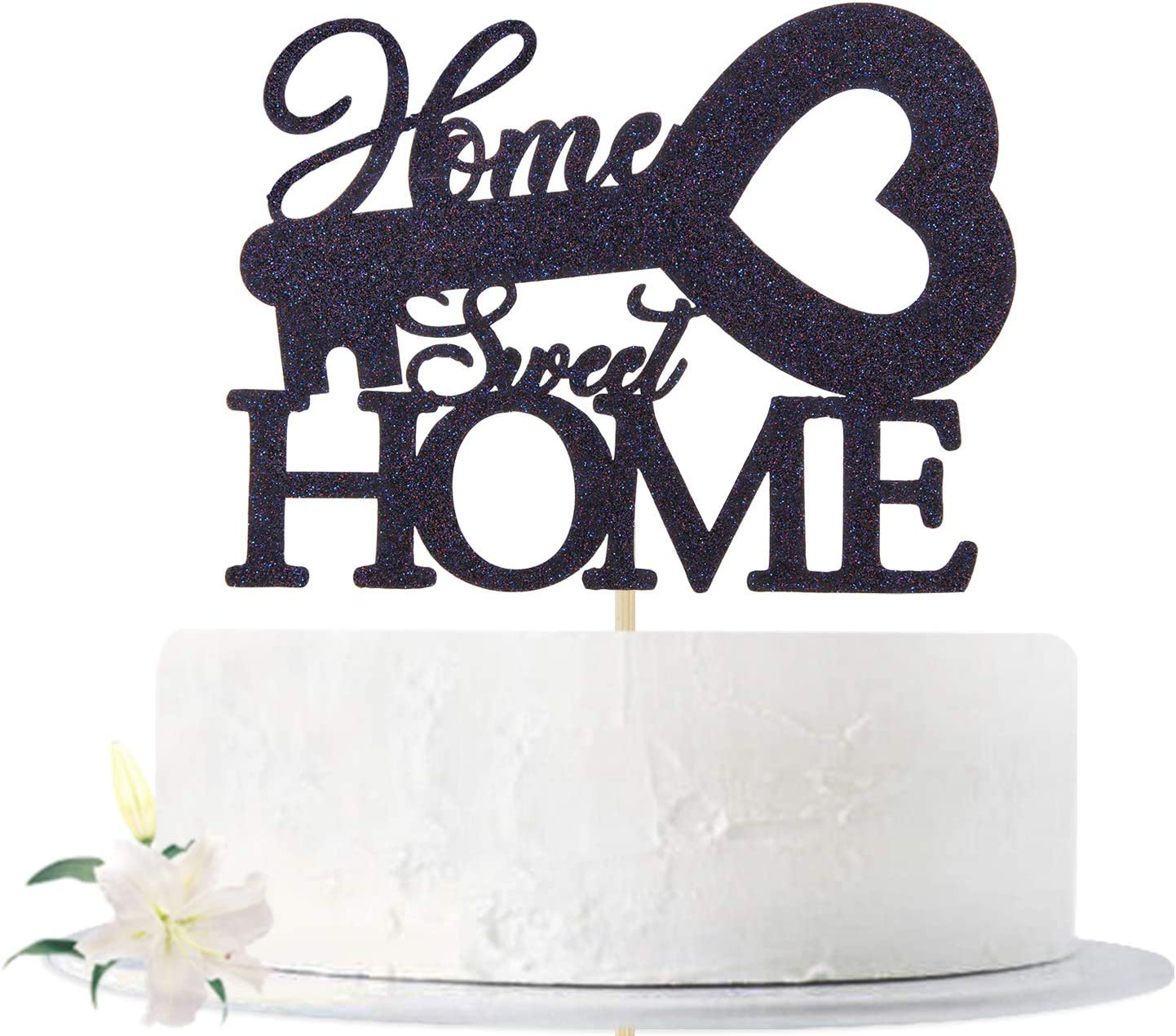 Black Glitter Home Sweet Home Cake Topper, New Home - Family Theme Party Sign - Welcome Home, House Warming New Home Party Decoration Supplies