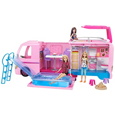 Barbie Camper Pops Out into Play Set with Pool: Toys & Games