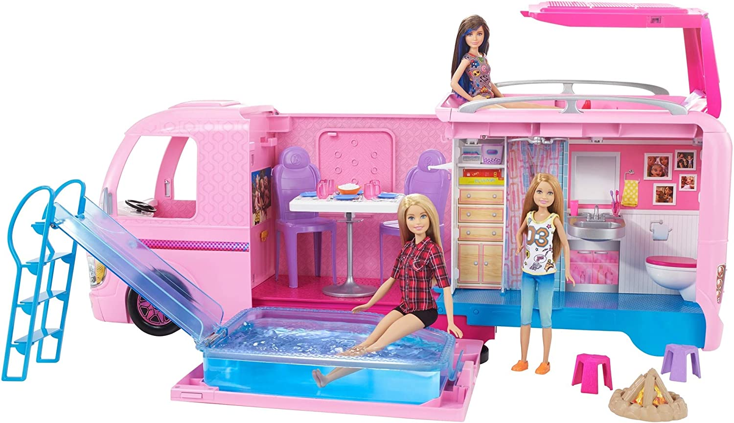 Barbie Camper Pops Out into Play Set with Pool!